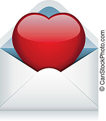 vector red heart in the envelope