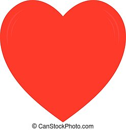 Vector red heart shape. Love symbol. Isolated on white background.
