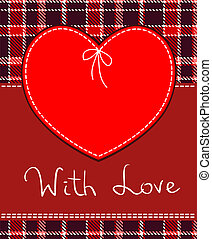 Vector red heart textile label