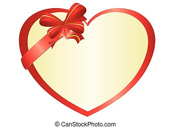 vector red heart with bow-knot