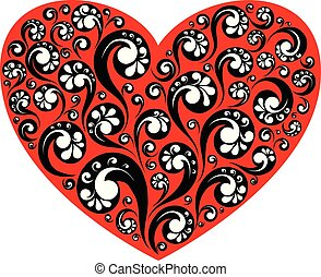 Vector red heart with decorative painting