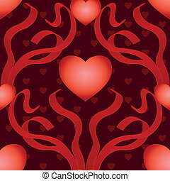 heart with ribbons seamless background