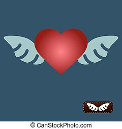 Vector red heart with wings