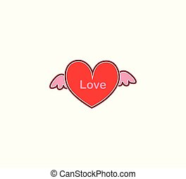 Vector red heart with wings isolated