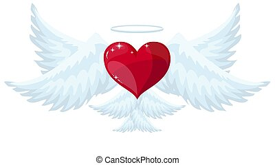 Vector red heart with wings.