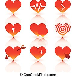 Vector red hearts icons set