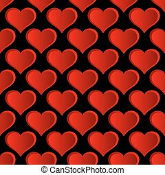 Vector Red Hearts Seamless Pattern.