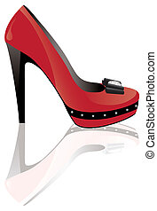red high heel shoe - vector red high heel shoe