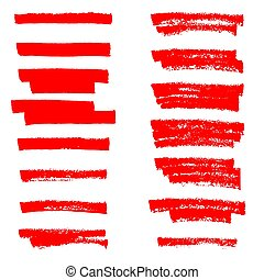 Vector red highlighter brush lines. Hand drawing.