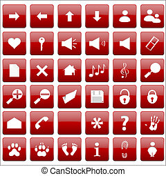 Vector beautiful red icon set