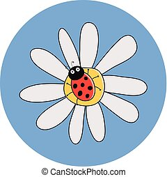 vector drawing of red ladybird on a camomile flower. ladybug cartoon on daisy flower. cute dotted lady bug summer illustration