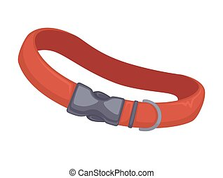 Vector red leather dog collar. - Red leather dog collar. ...