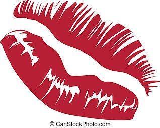Vector red lips imprint Vector Illustration