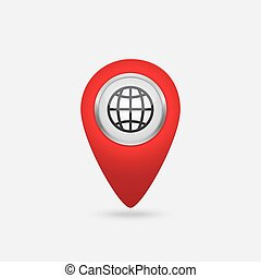 Vector red location world icon isolated on a white...