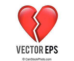 The isolated vector red love heart broken in two icon, breaking heart, brokenhearted