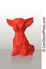Vector Red Low-poly dog