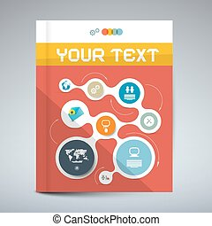 Vector Red Modern Book or Brochure Cover Design - Infographics Template, Layout