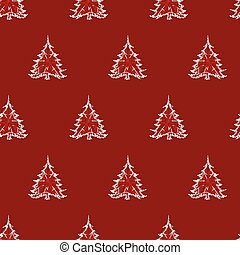Vector red monochrome small elegant sparkling christmas tree seamless background. Suitable for textile, gift wrap and wallpaper.