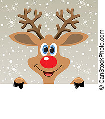 vector christmas illustration of happy red nosed reindeer holding blank paper for your text