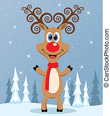 vector red nosed reindeer - vector christmas illustration of...