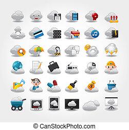 vector, red, nube, iconos