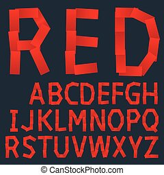 Red paper creative font