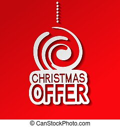Vector red paper winter sale, sticker - Christmas offer with christmas ball