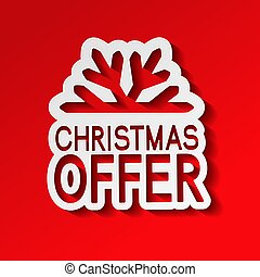 Vector red paper winter sale, sticker - Christmas offer with snowflake