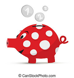 Vector Red Piggy Bank Isolated on White Background