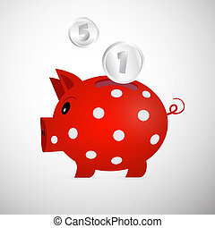 Vector Red Piggy Bank With Coins Isolated on White Background