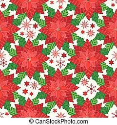 Vector Red Poinsettia with snowflakes and stars seamless pattern background.