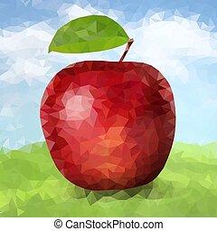 Vector red polygonal apple