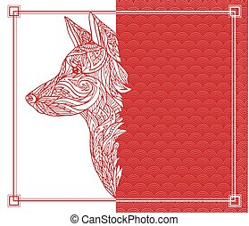 Vector red postcard to the Chinese New Year with a dog