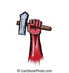 Vector red protest fist holding hammer isolated on white background. 1 may Labor day concept illustration with hand drawn doodle fist with claw hammer