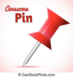 Vector red push pin