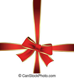 Vector red ribbon on the gift