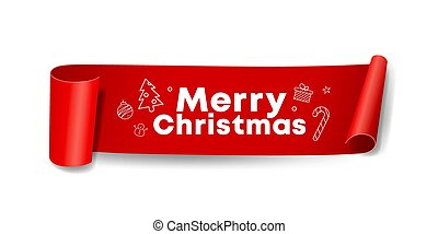 Vector Red Roll paper Merry Christmas design on white background