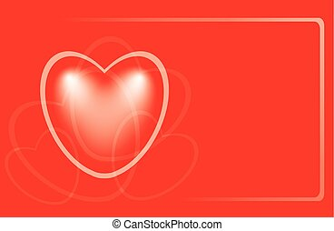 vector red romantic card with heart