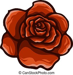 vector Red rose cartoon style on white background