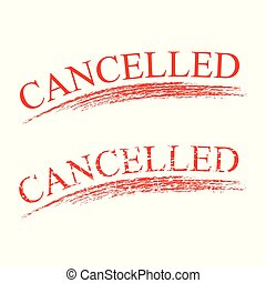 red rubber stamp effect, cancelled