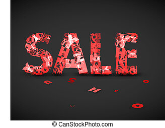 Vector red sale label made from letters - Vector red sale...