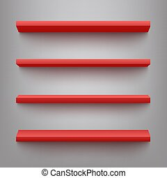Vector red shelves for product display mockup - Vector red...