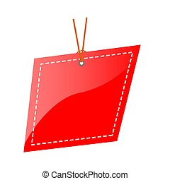Vector Red Shining Blank Abstract, Rounded corner Tag, isolated on white