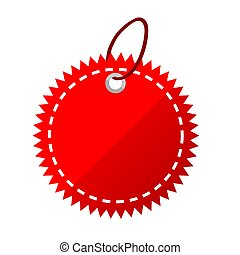 Vector Red Shining Blank Star, Rounded corner Tag, isolated on white