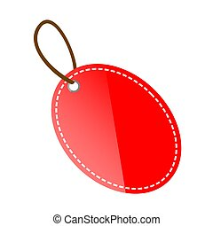 Vector Red Shining Oval Blank Tag, Isolated on White
