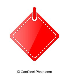 Vector Red Shining Square Blank Tag, Icon Style, Isolated on White