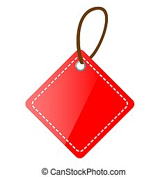 Vector Red Shining Square Blank Tag with isolated on white