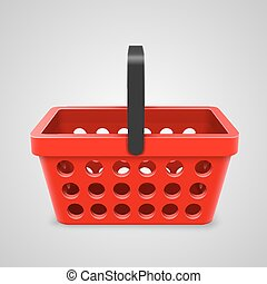 Vector red shopping bag with round holes