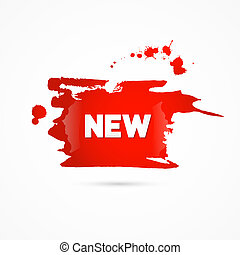 Vector Red Sticker, Stain, Blot, Splash With New Title