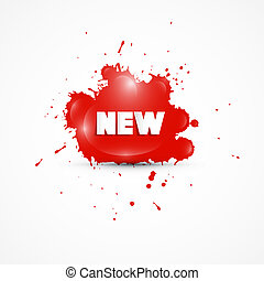 Vector Red Sticker, Stain, Blot, Splash With New Title
